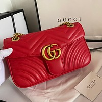 GUCCI classic letter gold buckle leather lady chain diagonal bag shoulder bag Red