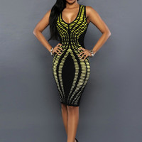 Yellow & Black Trendy Bodycon Sleveless Party Pencil Dress