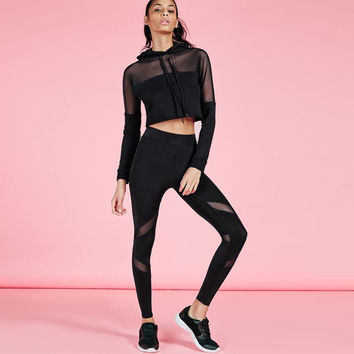 Women's Fashion Hot Sale Hats See Through Sexy Sportswear Set [9143587012]