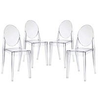 Clear Casper Dining Chairs Set of 4