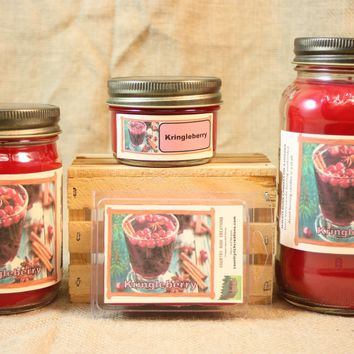 Kringleberry Candles and Wax Melts, Highly Scented Christmas Candle and Wax Tarts, Holiday Scent Candle, Housewarming Gift