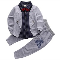 fashion gentleman children clothing set baby boys clothing set Two-pieces clothes kids outfits suit