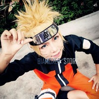 Naruto Cosplay hair wig halloween cosplay black headband Uzumaki Naruto cosplay wigs for men 35cm Yellow gold short hairpiece