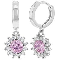 925 Sterling Silver Flower Earrings Dangle Clear Cubic Zirconia for Girls Teens