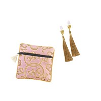 Golden Tassel Earplugs with Brocade Case