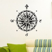 Wall Decal Vinyl Sticker Wind Rose Compass Travel Geography Decor Sb686