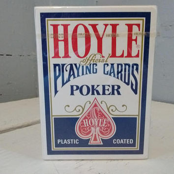 Vintage, Poker, Playing Cards, Hoyle, Plastic Coated, Nevada Finish, No. 1201, Unopened, RhymeswithDaughter