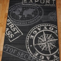 Modern Contemporary Rugs - Urban Art Pictorial - Travel Era Poster Rug in grey and black