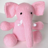 "Hand Knit Pink Elephant Stuffed Animal - Jungle Nursery Zoo Knit Animal - Baby Toy Plush Elephant Doll - Baby Girl Stuffed Toy Sits 8"" Tall"