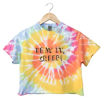 Beat It, Creep! Pastel Rainbow Tie-Dye Unisex Cropped Tee