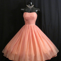 Vintage 1950's 50s Coral Salmon Peach Pink Beaded Ruched CHIFFON Organza Pearls Party Prom Wedding DRESS