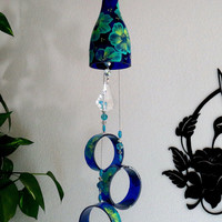 Cobalt blue wine bottle Wind Chime, Teal and Lime flowers, yard art, patio decor, recycled bottles, blue glass, Circle glass