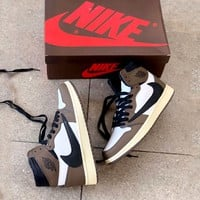 Travis Scott X Air Jordan 1 Joint Barb Dark Brown High Top Sneakers