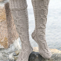 Hand knitted Long DROPS socks in Karisma Wool Superwash with cables and folded edge
