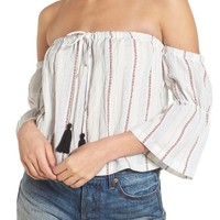 Lush Tassel Trim Off the Shoulder Top | Nordstrom