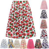 Housewife Full Circle Skirt 50s Pinup Retro Swing Vintage Midi Dress