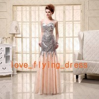 Sexy Paillette Lace Long Prom Dress Pageant Party Evening Gowns Stock Size 2-16