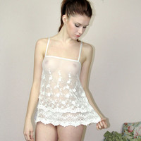 sheer lingerie camisole in cotton embroidery - BRIDAL lace - made to order