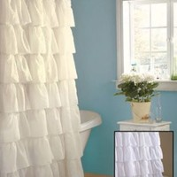 Shabby Country Ruffled White Shower Curtain