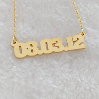 Wedding Date Necklace,Personalized Number Necklace,Gold Wedding Day Necklace,Birthday Necklace,Custom Numeral Necklace, Zip Code Necklace
