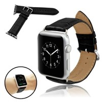 Infiland Apple Watch Band, Premium Leather Strap Wrist Band Replacement for Apple Watch 42mm Models With Adapter, Easy to install (CROCO model - Black)