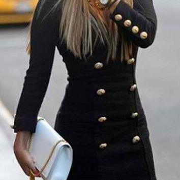 Black Long Sleeve Double Breasted Detail Mini Dress