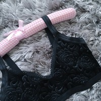 floral embossed black velvet bralette from Amme B's