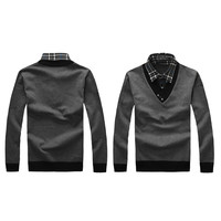 Mens Slim Stylish Long Sleeve V-Neck Knitted Sweater Jumper Cotton Top Sweater
