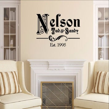 Ornate Family Name Vinyl Decal with Established Year Vinyl Wall Decal Name Style 1 22257