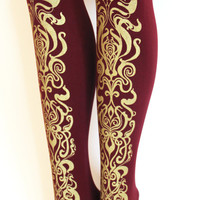 Art Nouveau Print Tights Gold on Bordeaux Oxblood Burgundy Large L Womens Fashion Metallic Legwear