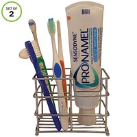 Evelots Toothbrush Holder/Stand-Stainless-Holds 4 Brushes-1 Toothpaste-Set of 2