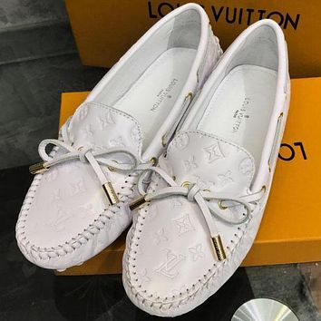 Louis Vuitton Women Fashion Casual Moccasin-Gommino In Leather Driving Shoes