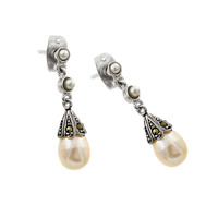 Sterling Silver Two Round Hanging Pearl Stud Earrings