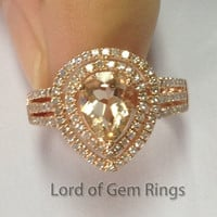 Pear Morganite Engagement Ring Pave Diamond Wedding 14K Rose Gold 6x8mm Double Halo