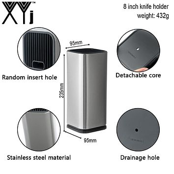 Stainless Steel Kitchen Knife Block Knife Holder For Steel Knives