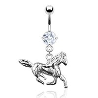 Rodium Plated Navel Belly Button Ring with CZ & Horse Dangle (Sold Ind.)