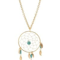 Gold Turquoise Dreamcatcher Pendant Necklace by Charlotte Russe
