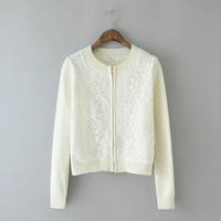 Floral Lace Long-Sleeve Zippered Sweater