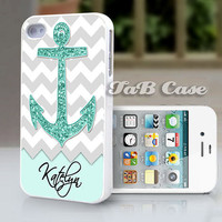 Personalized Mint Glitter Anchor  iPhone 5 or iPhone 4 Case. FREE SHIPPING - Worldwide.