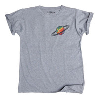 Saturn Tie Dye Pocket T-Shirt, Unisex Gray Cotton Blend sold by S U P E R B +