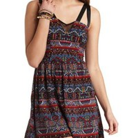 Printed Strappy Mesh Cut-Out Skater Dress - Black Combo