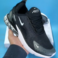 DCCK2 N559 Nike Air Max 270 Granule Leather Breathable Running Shoes Black White