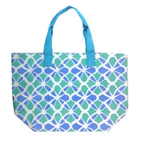 Colorful Large Beach Tote Bag with Bonus Cosmetic Bag (Blue & Green Flowers)