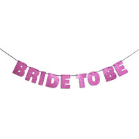 BRIDE TO BE Glitter Banner Sign Wall Decor - Sparkly Pink - Bachelorette Party Decor - More colors available