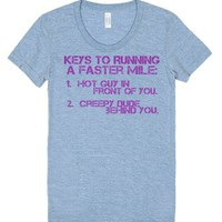 Key to running a faster mile-Female Athletic Blue T-Shirt