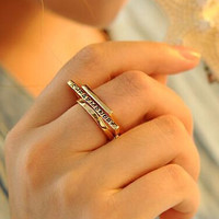 Womens Girls Vintage 3PCS Fashion Gold Ring Uniquering-110