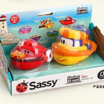 newest Sassy Baby Bath Toys / Kids Child Inspire Imagination harbor town Play Water Boats , 2 PCs/ pack