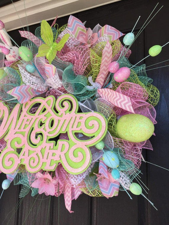 Spring Deco Mesh Wreath Easter Deco Mesh From