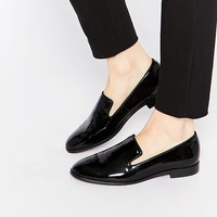 Dune Gray Black Patent Pointed Flat Loafer Shoes