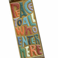 """Vintage 60s 70s """"Peace to All Who Enter Here"""" Mezuzah 